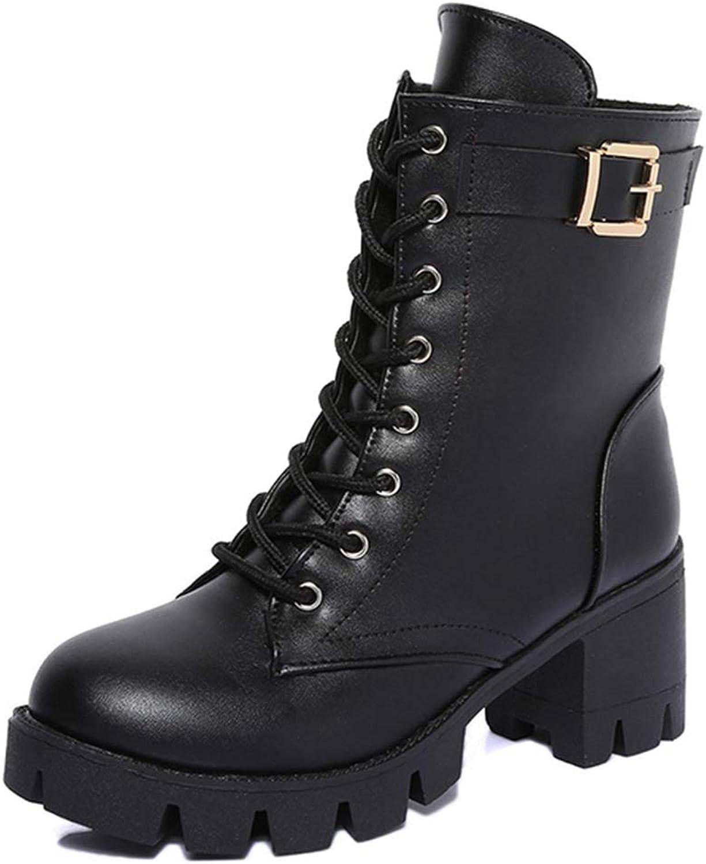 T-JULY Boots Women Wide High Heels Belt Buckle Platform shoes Woman Casual Autumn Winter Mid Calf Boots