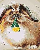KXGZ Set De Bricolaje para Pintar 40*50cm Niños para DIY Pintura para Pinceles Y Colores Decoraciones para El Hogar Juego De Pintura Acrílica -Conejo De Orejas Caídas Marrón Abstracto