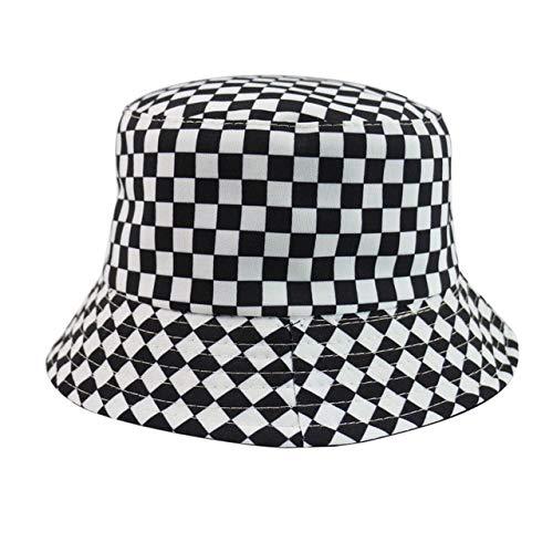FUYIO Negro Blanco Cuadros Cuadros Cubo Sombreros Gorras de Pesca mono