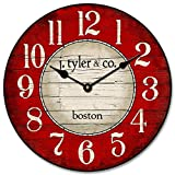 Boston Harbor Red Wall Clock, 8 Sizes, Great for Bedroom, Living Room, Kitchen, Whisper Quiet, Handmade in The USA