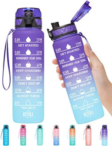 Elvira 32oz Motivational Fitness Sports Water Bottle with Time Marker Removable Strainer Fast product image