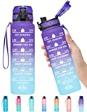 Elvira 32oz Motivational Fitness Sports Water Bottle with Time Marker & Removable Strainer,Fast Flow,Flip Top Leakproof Durable BPA Free Non-Toxic-Grape/Green Gradient