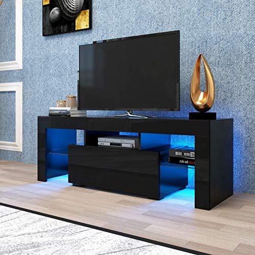 TV Stand for TVs up to 55 Inch,Colors LED TV Stand w/Remote Control Lights,High Gloss TV Cabinet w/3 Storage& Drawers TV Entertainment Center, Black