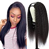 U Part Wig Human Hair Kinky Straight Wigs for Black Women, 20inch Italian Half Wig 2x4 U Shape Clip in Wigs Yaki Straight Upart