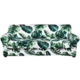 hyha Printed Couch Cover for 3 Cushion Couch - Floral Pattern Sofa Cover with Separate Cushion Cover, 4 Pieces Stretch Sofa Slipcover Washable Furniture Protector (Sofa, Monstera Deliciosa)