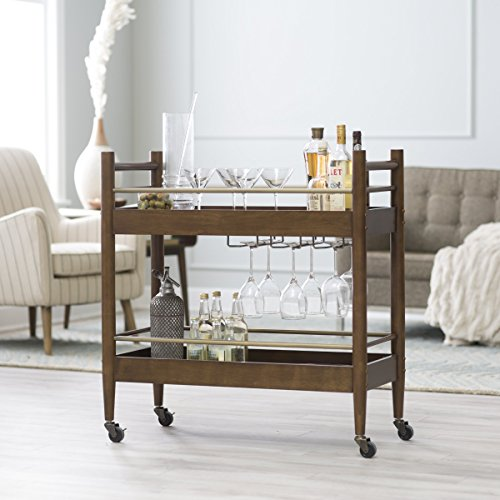 Belham Living Carter Mid-Century Modern Bar Cart, Crafted of Engineered Wood, Perfect for Indoor and Outdoor Use