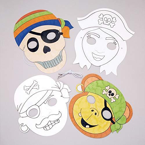 """Baker Ross Masken """"Piraten"""" zum Ausmalen (8 Stück) – Masken mit verschiedenen Piraten für Kinder zum Gestalten und Verkleiden"""