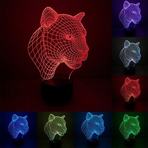 L-yxing Sonido Tamaño del Producto: 22.4 x 15.4 x 8,7 Cm, Estilo de Leopardo Carga USB 7 Color Decoloración Creativa óptica estéreo lámpara de Interruptor táctil 3D Control de interru