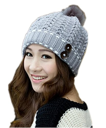 Spikerking Womens Winter Knitting Wool Hat Daily Slouchy Beanie Skull Cap (One Size, Light grey)