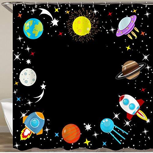 VORMOR Shower Curtain With Hooks,Cartoon rocket Spaceship stars planet Earth Moon Mars Jupiter moon UFO Galaxy,Waterproof Resistant Bathroom Curtain Washable Bath Curtain Polyester Fabric