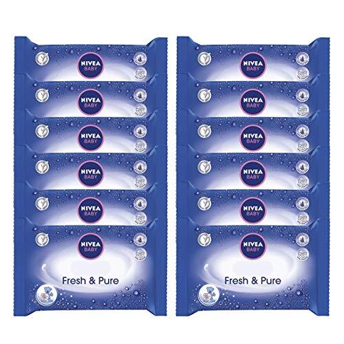 NIVEA BABY Fresh & Pure Feuchttücher (12 x 63 Stück), feuchte Tücher zur sanften Reinigung empfindlicher Babyhaut, Babypflege mit reinem Wasser und Aloe Vera
