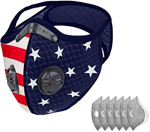 EFP USA American Flag Filtered Dust & Sports Face Mask for Men and Women | Windproof Breathable Nylon Mesh for Running, Cycling, Mowing, & Outdoor Activities | Includes 1 Face Mask + 6 Filters