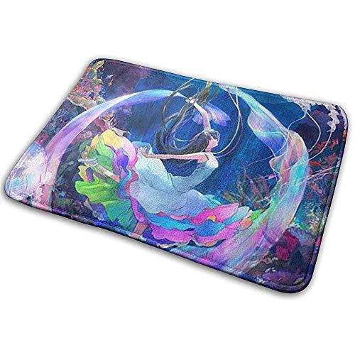 Liumt Welkom deurmat zeemeerminstaart indoor outdoor ingang tapijt vloermatten schoenkrabber 40cm x 60cm