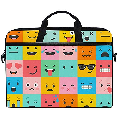 Laptop Sleeve Case,Cute Emoji Emoticon Smiling Face Briefcase Messenger Notebook Computer Bag With Shoulder Strap Handle,14-14.5 Inch