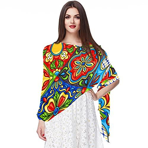 WJJSXKA Bufandas para mujer Estampado ligero Estampado floral Bufanda Chal Bufandas de moda Chales de protección solar, azulejo de cerámica mexicana Folk étnico Italiano