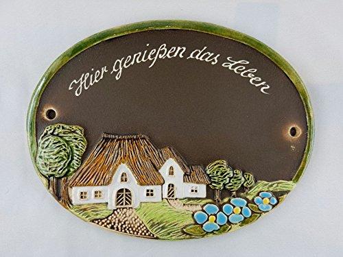 Türschild Keramikschild Bauernhaus 3 Blüten Keramik Haustürschild