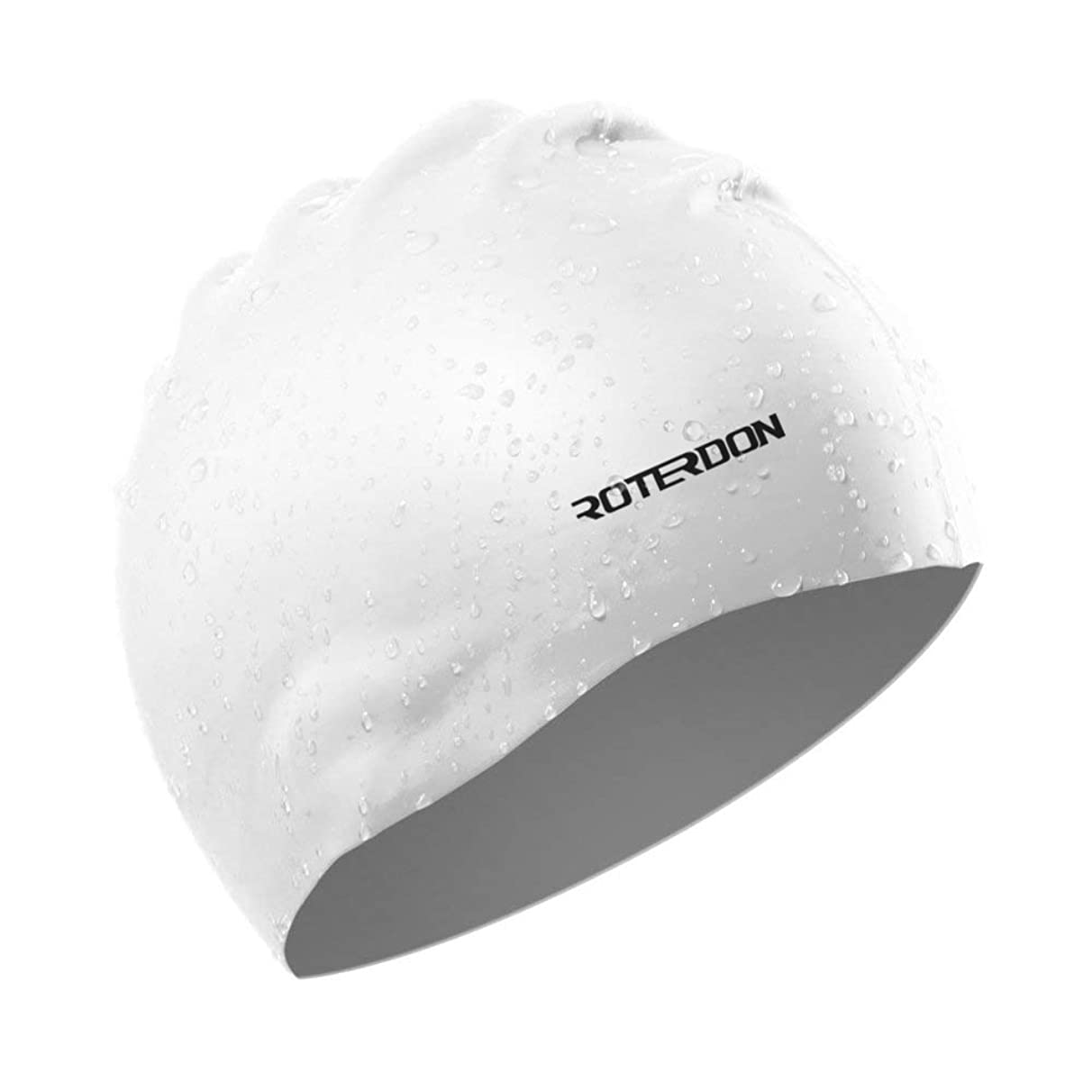 ROTERDON Swim Cap, Waterproof Swimming Hat with 3D Ergonomic Great Elasticity Swimming Caps Suitable for Different Age