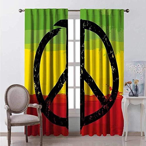 Verdunkelungsvorhänge, Wärmeisolierung/Wärme im Winter, können Innenmöbel schützen & ultraviolette Strahlung reduzieren Aquarelldesign afrikanische Flagge färbt Friedenszeichen