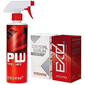 Gtechniq EXOv3, Crystal Serum Light Ceramic Composite Coating Paint Protection & Panel Wipe 50ml Bundle