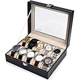 Readaeer 10 Slot Leather Watch Box Display Case Jewelry Organizer for...