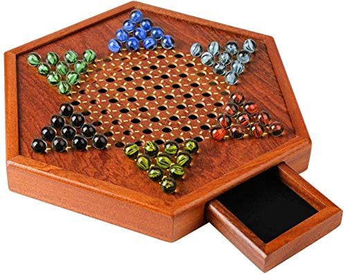 wkwk Wooden Chinese Checkers Game Going,Chinese Checkers,mit Schubladen und Glasmarmor-Controllern,Smooth Plane Chess Strategy Game