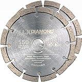 LXDIAMOND, 2 dischi diamantati da 150 mm x 22,23 mm, per calcestruzzo e muratura, adatti per fresatrice diamantata, fresatrice per muratura, fresatrice da parete, disco diamantato da 150 mm
