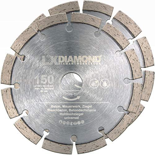 LXDIAMOND 2x Diamant-Trennscheibe 150mm x 22,23mm Beton Stein Mauerwerk passend für Diamantfräse Schlitzfräse Mauernutfräse Mauerschlitzfräse Wandfräse Diamantscheibe 150 mm