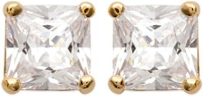 ISADY - Miranda Gold - Boucles d'oreille - Clous d'oreilles - 5 mm - Argent fin 925/1000 et Plaqué Or jaune 585/1000 - Oxyde de zirconium transparent