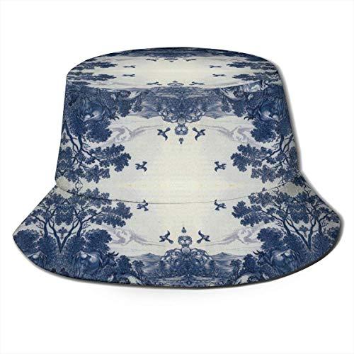 zhouyongz Bedruckter Delft Blue Keramik-Fischer-Polyester-Hut Casual Travel Kopfbedeckung Sonnenhut Fisherman's Caps