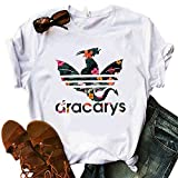 Women Dracarys Floral Flower Graphic T-Shirt TV Show Gamer Game Funny Tops Tee (White, X-Large)