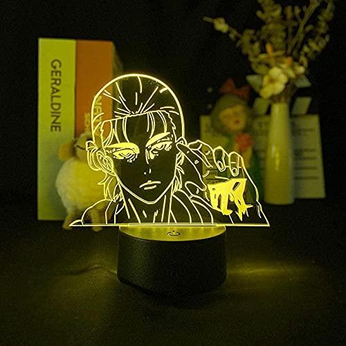 Lámpara de ilusión 3D LED noche luz Titan Eren X Jujutsu Kaisen Anime Estatuilla creativa niño regalo de cumpleaños niños s habitación escritorio decoración 16 colores