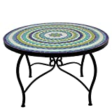 albena Marokko Galerie Marokkanischer Mosaiktisch ø 80cm COUCHTISCH N Gartentisch Beistelltisch Terrassentisch Fliesentisch Mediterraner Tisch (Hiawa blau/türkis/Weiss/grün)