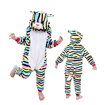 Kids Animal Color Cat Onesies Pajamas Cute Cosplay Halloween Xmas Costume Winter Girls Hooded Sleepwear 2-13Years