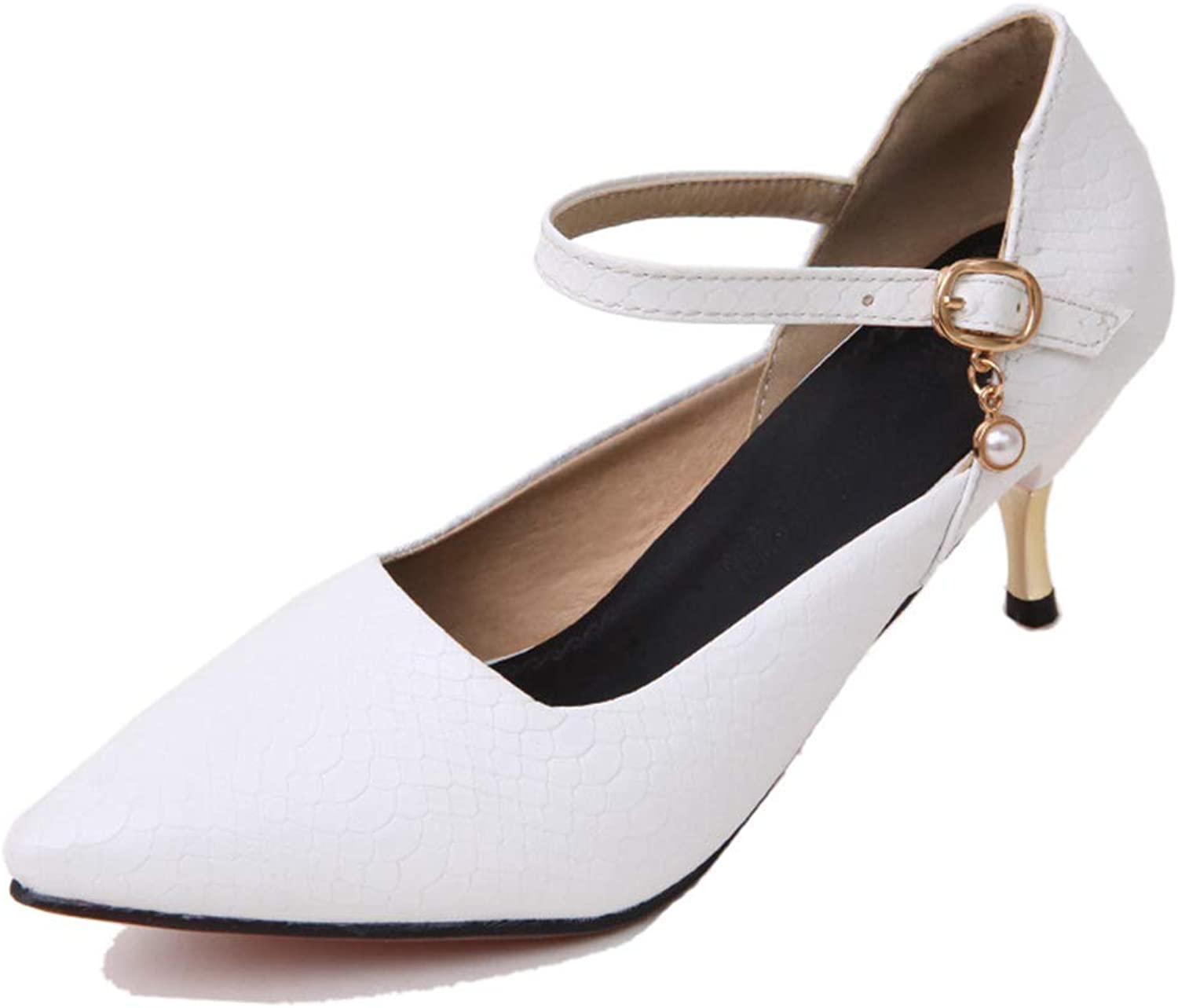 Btrada Women's Sexy Pointy Toe Pumps Fashion Mid-Heel Shallow Mouth Dress shoes Wedding Party Stiletto