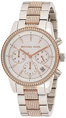 Michael Kors Damen Chronograph Quarz Uhr mit Edelstahl Armband MK6651