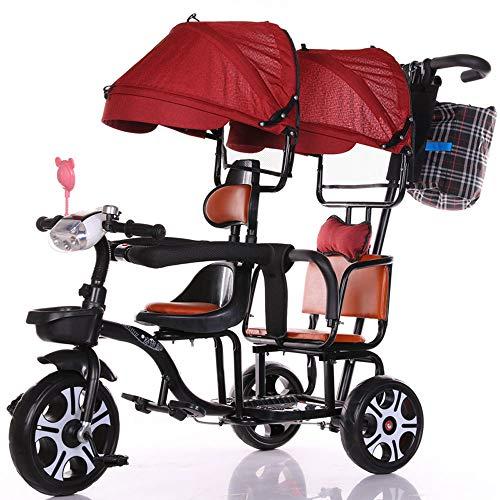FLYFO Empuje El Triciclo De Niños, Tándem Grande Cochecito para Bicicletas Gemelos Puede Andar Y Sentarse Parasol Tres Ruedas,Rojo