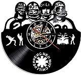 Relojes de Pared para dormitorios LED Luminoso Retro 12 Pulgadas Patrón de Banda de Chile Rojo Disco de Vinilo Reloj de Pared Diseño Vintage Hecho a Mano Reloj silencioso Regalo de Arte Negro