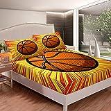 Juego de sábanas de baloncesto con temática deportiva para niños, niñas y niños, diseño de bolas, sábana bajera, suave y brillante, decoración de cama, tamaño king