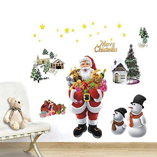 PhilMat Autocollant de fenêtre mural chrsitmas joyeux amovible de Noël décoration de famille