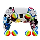 Skin for PS5 Controller Grips, Silicone Case Cover for Playstation 5 Anti-Slip Protector with 4pcs Thumb Joysticks Caps
