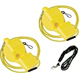 Fox 40 Classic Loud Pealess Official Referee, Sports Coach, Lifeguard Whistle + Breakaway Lanyards | 2pk Bundle + Koala Lanyard, Yellow