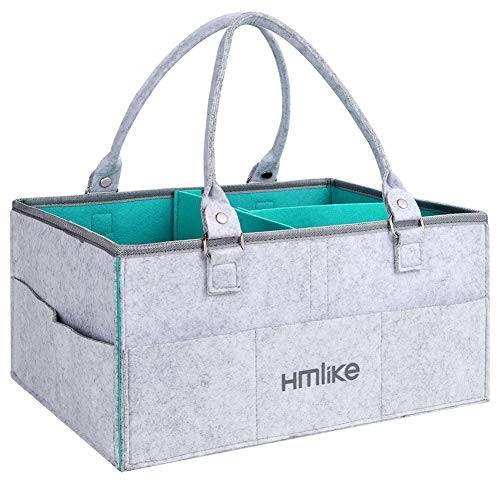 Hmlike Organizador de pañales, cesta de almacenamiento grande para bebés, con asas y tapa, para cambiar de mesa