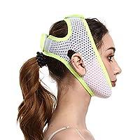フェイススリミングストラップダブルチンリデューサー再利用可能な痛みのないVラインチンリフティングマスクたるみ肌を改善するためのファーミングVフェイスコンター (Color : Green)