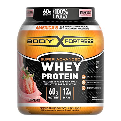 Body Fortress Super Advanced Whey Protein Powder, Gluten Free, Strawberry, 2 Pound (Packaging May...
