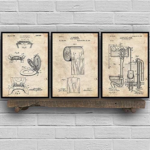 Toilette Design Toilettensitz Leinwand Poster Toilettenpapier Patent Vintage Poster und Drucke Blaupause Wandbilder für Badezimmer 30x40cmx3 No Frame