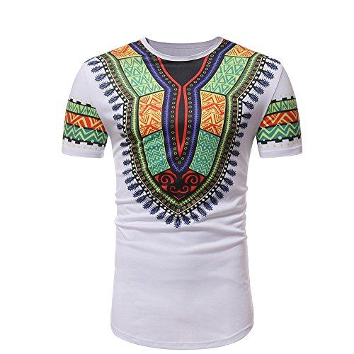 Blusa de Los Hombres,Camiseta de Manga Corta Retro para Hombre con Estampado de Viento étnico Africano Camiseta Tops Gusspower