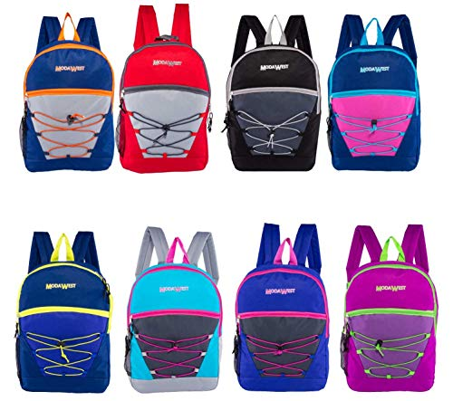 24 Pack - 17 Inch Classic Wholesale Bungee Backpacks in Assorted Colors - Bulk Case of Bookbags (8 Assorted Colors)