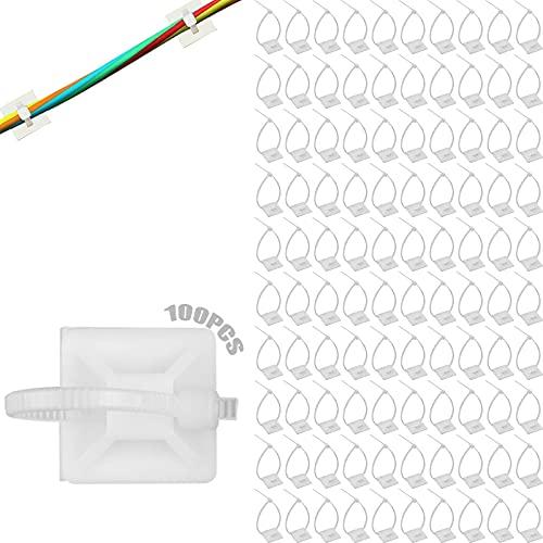 Base a vite 100 set Base autoadesiva fascette Stringicavo Supporti adesivi Fermacavi bianchi Morsetti per cavi Fascette multiuso Set porta fascette Per uso esterno Cavo fisso e guaina passacavo