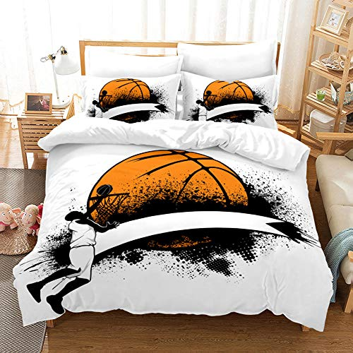Uvvseso 3d Family Bedding Set King 220 x 240 cm For Kids Cartoon Printed Bed Cover Boys Duvet Cover Bedclothes + 2 Pieces Pillowcases Duvet Set Gift for Teens Girls Cartoon basketball sport sports