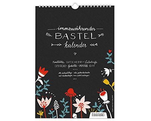 A4 Design Bastelkalender immerwährend zum Selbstgestalten, Recyclingpapier Fotokalender, Kreativkalender, Geburtstagskalender ohne Jahr, schwarz weiß bunt mit Blumen, Jahresübersicht für 2020